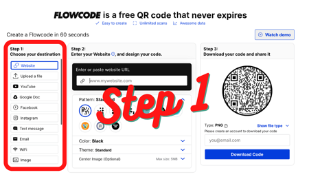 Download Your QR Code Step 1