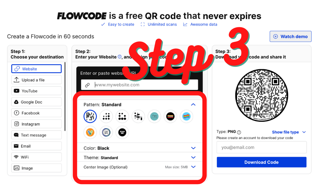 Download Your QR Code Step 3