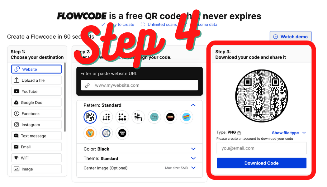 Download Your QR Code Step 4